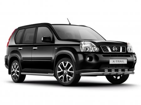 Защита порогов d63мм Nissan X-Trail (нерж)